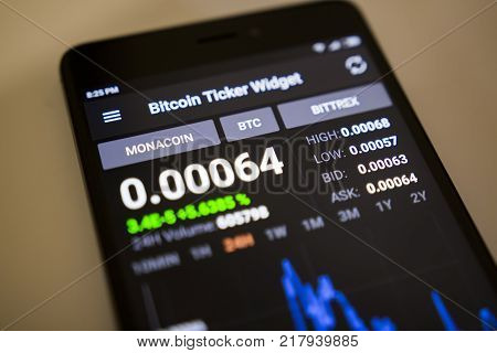 Berlin Germany - December 5 2017: Exchange rate of MONACOIN crypto currency in Bitcoin Ticker Widget application on screen of modern smartphone