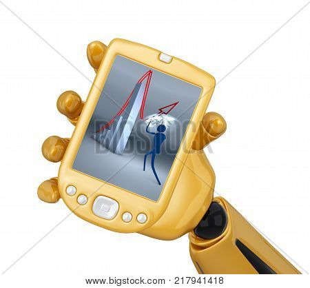 Gold 3d robotic hand hold  gold pda. Including clipping path