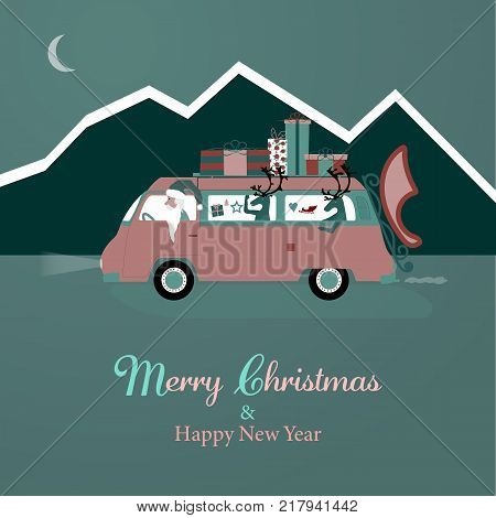 Christmas time. Santa Claus in mini van with gifts on the roof. Text : Merry Christmas & Happy New Year