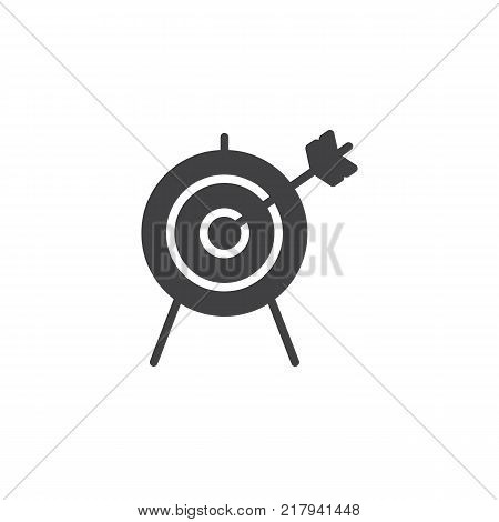 Target with arrow icon vector, filled flat sign, solid pictogram isolated on white. Archery aiming symbol, logo illustration.