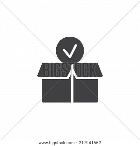 Package paper box with check mark icon vector, filled flat sign, solid pictogram isolated on white. Checked delivery box symbol, logo illustration.