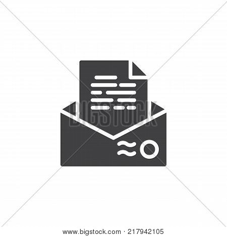 Recommendation letter envelope icon vector, filled flat sign, solid pictogram isolated on white. Resume mail symbol, logo illustration.