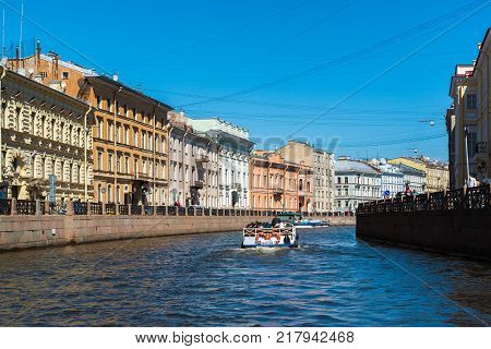 St. Petersburg, Russia - June 4 2017. The embankment of the Moika River and the Consulate General of Japan