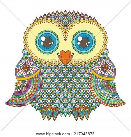 Vector cute zentangle owl illustration. Ornate patterned bird. Picture for coloring. Simbol for printing.