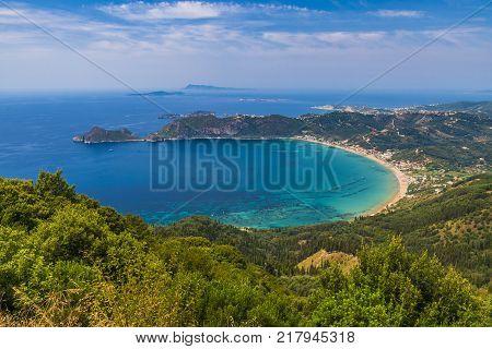 View at Agios Georgios Pagon beach in Corfu island Greece