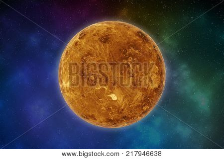 Planet Venus in the solar system. Elements of this image are furnished by NASA