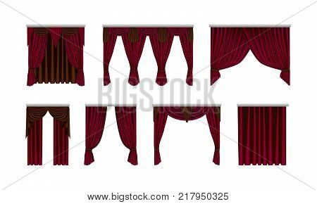 Decorative interior room items, realistic silk, velvet curtains drapery. Red curtains window for a theatrical scene with highlights and shadows. Vector illustration isolated.