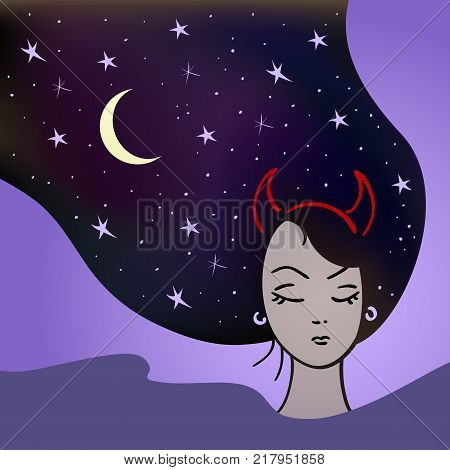 Beautiful woman with a devilish nature sleeps with stars in her hair. Vector illlustration
