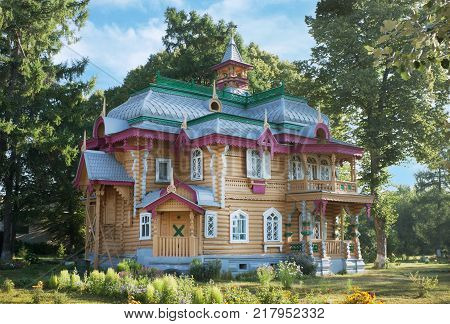 Volodarsk, Russia - August 04, 2012: Such architecture are difficult to find anywhere else. It was built  in 1892-1893. Currently, in  building