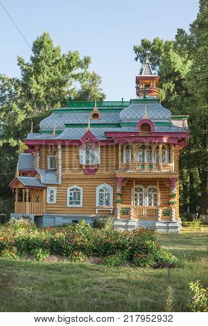 Volodarsk, Russia - Aug 04, 2012: Similar architecture are difficult to find anywhere else. Building was built around 1892-1893. Currently, in building