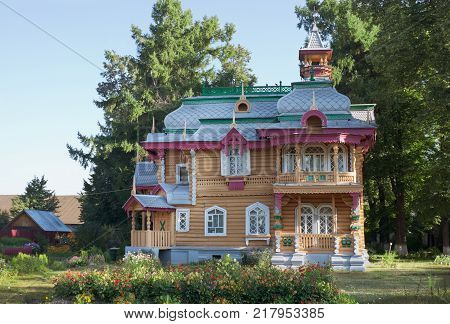 Volodarsk, Russia - Aug 04, 2012: Similar architecture are difficult to find anywhere . Building was built around 1892-1893. Currently, in building