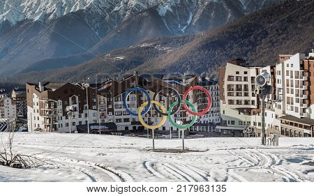 April 27, 2017, Rosa Khutor, Sochi: Landscape with the Olympic village Rosa Khutor ,the place of the Olympic Winter games 2014, Krasnaya Polyana ,Rosa Khutor ,Sochi , Russia.