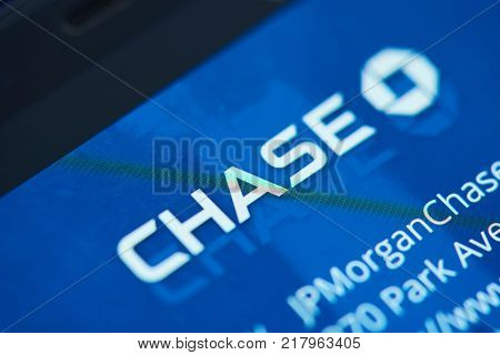 New york, USA - December 12, 2017: Chase bank moblie menu application menu on smartphone screen close-up. Using Chase bank  moblie menu