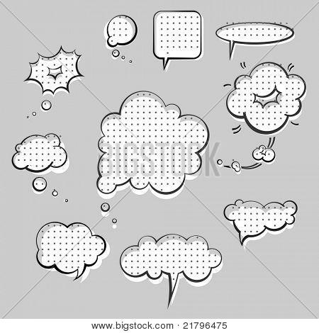 pop-art style speak clouds ink graphic set