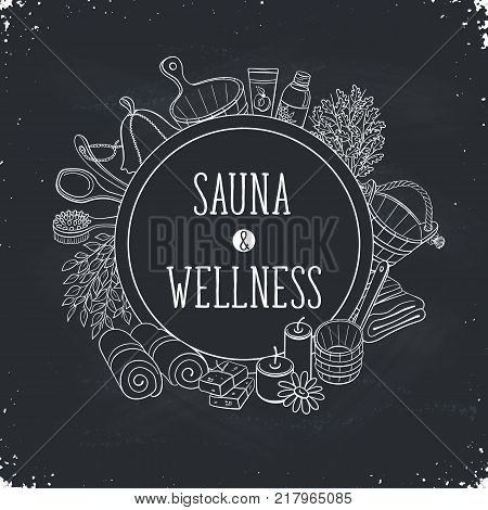 Sauna and wellness poster. Sauna accessories sketches in circle shape. Hand drawn spa items collection. Doodle sauna objects on chalkboard.