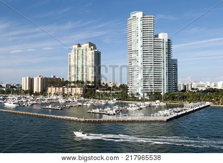 The motorboat passing by the marina in Miami Beach (Florida).