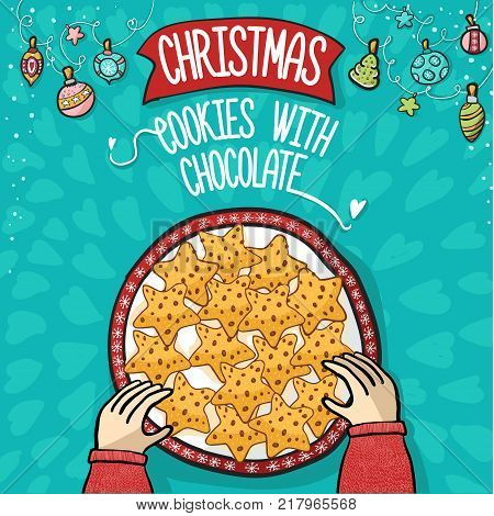 Cristmas cookies with chocolate on background hand draw