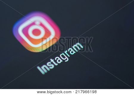 New york, USA - December 12, 2017: Instagram application icon on smartphone screen close-up. SQL client app icon with copy space on screen