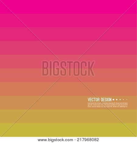 Abstract background with rhythmic rectangular horizontal stripes. Transition and gradation of color. Vector blend gradient for illustrations, covers and flyers. Color yellow, orange, red, pink, gold.
