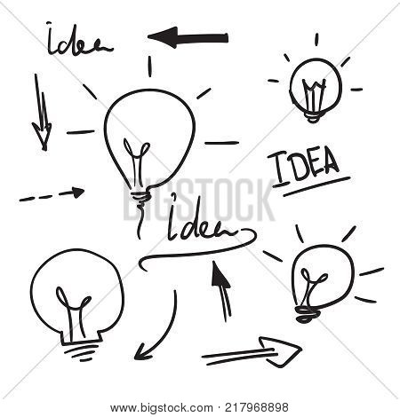 Bulb light idea. concept of big ideas inspiration innovation, invention, effective thinking. Vector doodle lightbulb. Sketch hand drawn style.