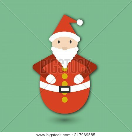 Roly Poly toy Santa Claus. Flat card for Crictmas and New Year