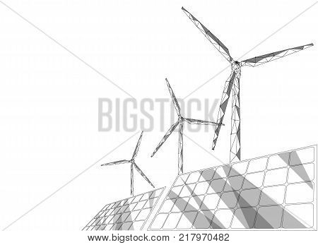 Solar panels windmills turbine generating electricity. Green ecology saving environment. Renewable power low poly polygonal geonetric abstract gray white sky design vector illustration art