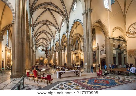 Florence Italy - April 02 2017: Interior of Basilica of Santa Maria Novella it is the first great church in Florence