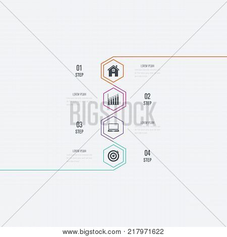 Business infographics template 4 steps. Data and information visualization. Dynamic infographics stylish geometric. element for design business invitations, gift cards, flyers and brochures