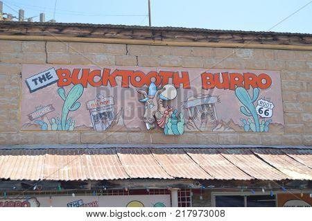 The Bucktooth Burro Saloon Oatman Route 66 . June 21 2017. Oatman Arizona USA EEUU.