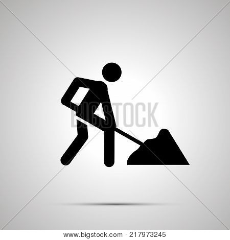 Road worker silhouette, simple black icon with shadow