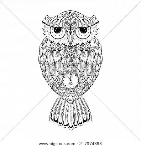 Owl bird isolated with clock face on stomach on white background vector image. Wild night owl bird hand drawn vector illustration