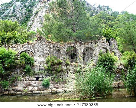 Ruins of the port of the ancient city of Olympos. Turkey