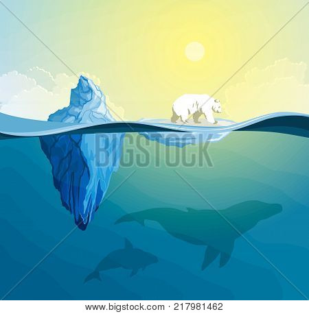 Polar Bear on polar pole and a thawing iceberg, global warming concept