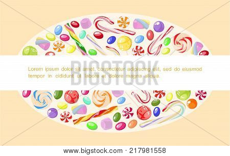 Vector poster with bright, sweet candy, marshmallow and special place for your text. Template. For children's cafes, covers, stickers, price, tags, notes.