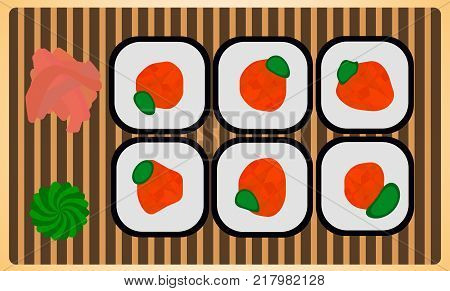 Traditional japanese dinner meal rice roll sushi set with wasabi and ginger. Colorful vector illustration fresh gourmet japan maki on susi-plate.