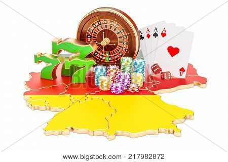 Casino and gambling industry in Germany concept 3D rendering isolated on white background