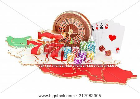Casino and gambling industry in Iran concept 3D rendering isolated on white background