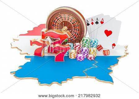 Casino and gambling industry in Luxembourg concept 3D rendering isolated on white background