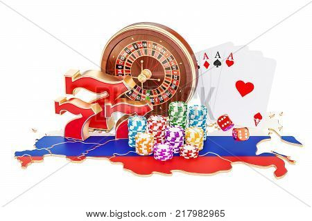 Casino and gambling industry in Russia concept 3D rendering isolated on white background