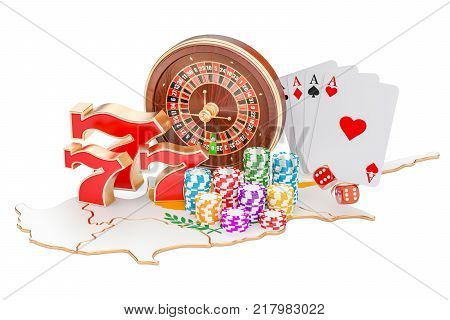 Casino and gambling industry in the Cyprus concept 3D rendering isolated on white background