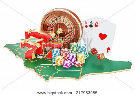 Casino and gambling industry in the Saudi Arabia concept 3D rendering isolated on white background