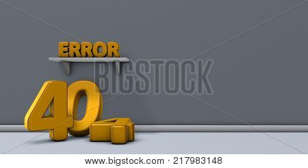 the word error on shelf and number 404 - 3d rendering