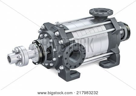 Horizontal multistage centrifugal pump 3D rendering isolated on white background