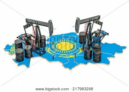 Kazakhstan map with oil barrels and pumpjacks. Oil production concept. 3D rendering