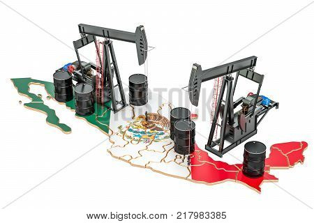 Mexican map with oil barrels and pumpjacks. Oil production concept. 3D rendering