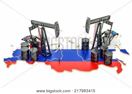 Russian map with oil barrels and pumpjacks. Oil production concept. 3D rendering