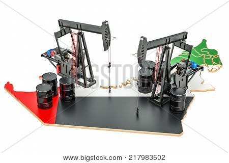 UAE map with oil barrels and pumpjacks. Oil production concept. 3D rendering
