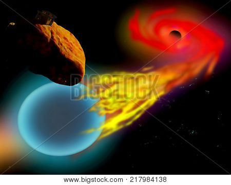A digital painting depicting a Black Hole devouring a nearby star with an observation post orbiting on a nearby asteroid.