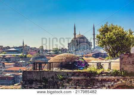 View of valide han, Nuruosmaniye Mosque from the roofs of Grand bazaar in Istanbul, Turkey