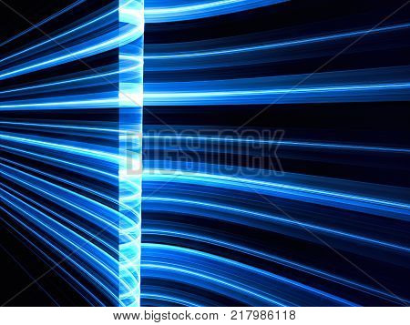 Dark fractal background with glowing stripes. Abstract computer-generated image for banners, posers, covers. Graphic design element in tech style.